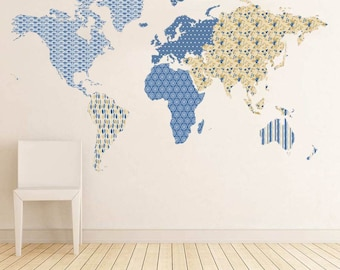 Patterned world map wall decal for homes and offices.