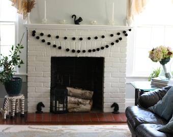Pom Pom Garland, Black Pompom Garland, Festive Garland, 10 Foot Garland, Yarn Pompoms, Black Garland, Fireplace Decor, Black Home Decor