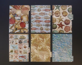 """Double sided laminated dividers  - Filofax A5 - """"Ocean"""""""
