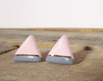 Vintage Baby Pink and Gold Geometric Earrings. 1980's Pink and Gold Large Triangle Earrings. Light Pink and Gold Vintage Stud Earrings.