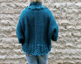 Bohemian Cardigan / Hand Knit Cardigan / Womens Knit Cardigan / Oversized Shrug / Teal Cardigan / Chunky Knit Cardigan / Plus Size Cardigan