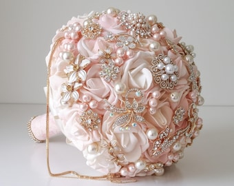 Blush pink and gold brooch bouquet Gold bridal bouquet Pearl bouquet Ready to ship bouquet