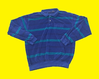 Vintage 1980s Velevet Polo style shirt mens XL