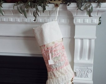 Hand-quilted unique shabby chic Christmas stocking for her