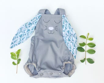 Grey and Blue Easter Bunny Romper, baby romper, grey romper, babys first Easter
