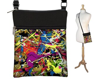 Small Crossbody Bag,  Cross Body Purse, Small Shoulder Bag w/ zippers colorful Paint Splatter Jackson Pollock inspired blue red yellow RTS