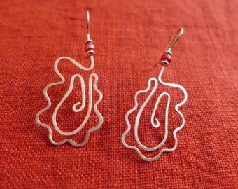 Whyre Sterling Silver Splash Earrings With Pink and Silver Beads