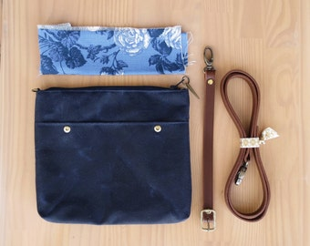 Waxed Canvas Crossbody Bag in Navy Blue with Vintage Style Floral Lining and Leather Strap, Waxed Canvas Cross Body Purse, Plus Size, USA