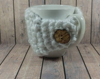 White Mug Cozy- White Coffee Cup Cozy- Knitted Coffee Cup Cozy