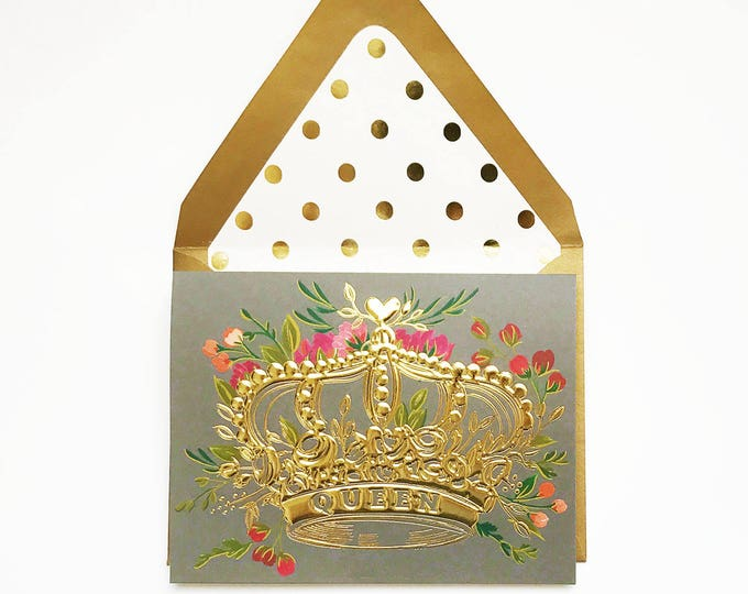Queen Gold Foil Crown with florals