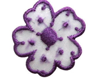 ID 8669 Purple Spotted Flower Patch Daisy Garden Embroidered Iron On Applique