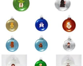 Star Wars Ornaments - Star Wars Glitter Ornaments - Yoda Ornament - Storm Troop Ornament - Darth Vader - C3PO Ornament - R2D2 Ornament - BB9