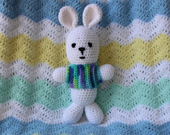 New Handmade Crochet Amigurumi Toy White Bunny Rabbit w/ Multicolor Sweater - Ready to ship