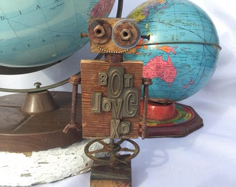 Bot Love- assemblage, robot, sculpture, repurposed, one of a kind
