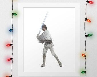 LUKE SKYWALKER PRINT, Luke, Darth Vader, Star Wars, Force Awakens, Watercolor, Nursery, Movie Poster, Print, Digital Print