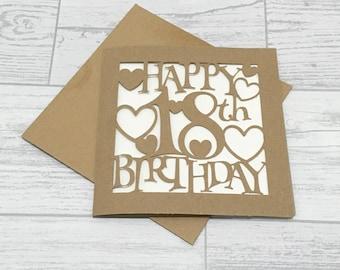 18th Birthday Card, Birthday Card, Birthday Girl, Personalised Card, Eighteenth Birthday, Happy 18th Birthday, 18th Birthday, Papercut Card