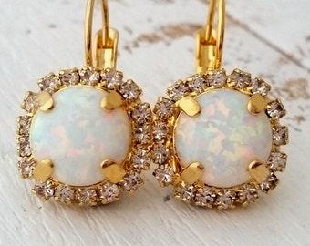 Opal earrings, White Opal drop earrings, Crystal earrings, Bridesmaid gift, dangle earring, Bridal earrings, Swarovski earrings gold earring