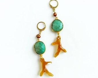 Jade Earrings, Long Gemstone Earrings, Crystal Pearl Earrings, Mint Orange Earrings