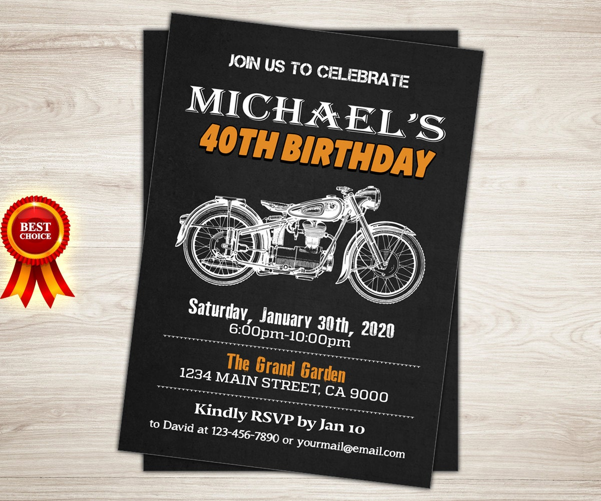 Harley Davidson Birthday Party Invitation 40th 50th 60th