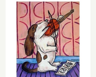 Basset Hound Playing the Violin Dog Art Print