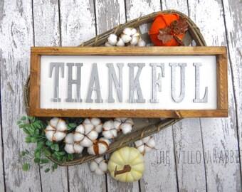 Thankful | Farmhouse Decor | Rustic Fall Sign | Fall Decor | Fall Sign | Thankful | Farmhouse Fall