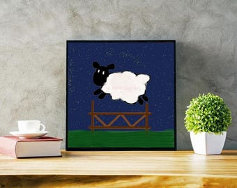 DIY Printable Nursery Decor, Farm Animal Wall Art, Baby Shower Art Print, Nursery Animal Decor, Sheep Baby Animals, Wall Decor, Home Decor