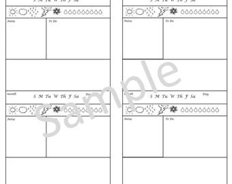 Hobinichi 2.0, TN, Traveler's Notebook, Midori-, Personal, Printable, Digital Download