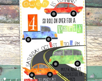 Cars Vehicles Watercolor Personalized Birthday Printable Invitation Print at Home