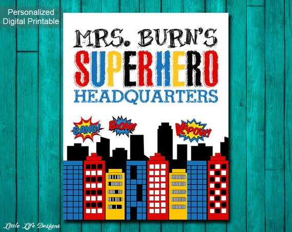 Classroom Decor Items ~ Superhero classroom decor gift for teacher sign