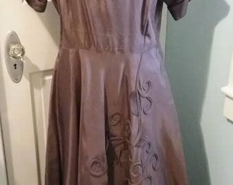 1940s 40s 1950s 50s embellished brown taffeta party dress