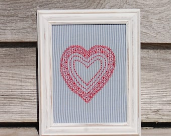 Hand Embroidered Red Heart Picture