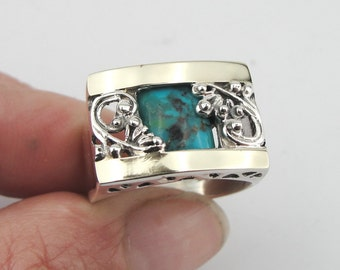 Silver Filigree Turquoise Ring, Silver and Gold Ring, Yellow Gold Turquoise Ring, Size 8, Green Stone, December Birthstone, Birthday (s 1658
