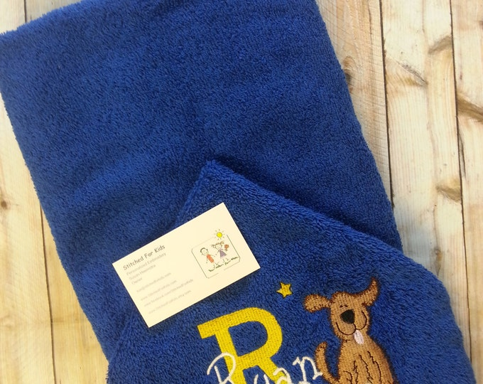 Puppy Hooded Towel Personalized, Dog Rescue Gift, Gift for Dog Lover, New Puppy Gift