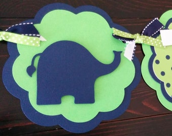 Elephant banner in lime and navy.  Elephant name banner, Elephant It's A Boy banner, Elephant Birthday banner