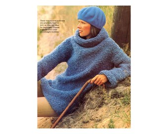 Cowl-neck Sweater Knitting Pattern