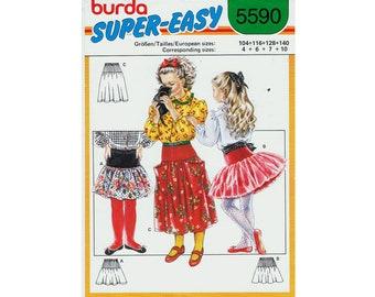 burda Super Easy Girls Drop Skirt - Ruffle Tutu - Sewing Pattern Size 4 - 6 - 7 - 10  UNCUT