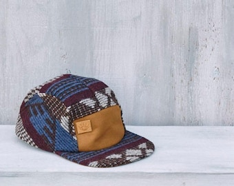 Brown, Blue and Burgandy Wool 5 Panel Camp Hat