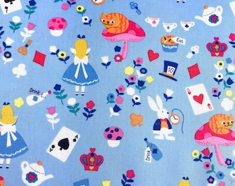 Alice in Wonderland fabric, Blue children fabric, 100% cotton for Quilting, arts, crafts and all sewing projects.