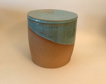 Ceramic Lidded Vessel, Blue and Colored Clay Container