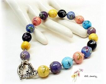 Pastel Beaded Bracelet, Summer Bracelet, Porcelain Bracelet - B 0208-01