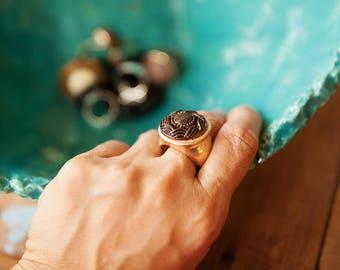 Brown & gold ring, Brown round ring, Big ring, Gold ring, Large ring, Brownring, Round ring, Big gold ring, Large gold ring,Gold Round ring