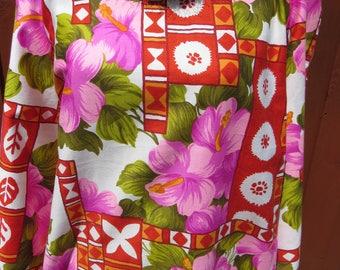 Hawaiian Aloha Dress by Pomare, Size 16 XXL, 1960s Long Muumuu Maxi Dress, Lavender Red Orange, Luau Cruise Vacation Resort Wear Hula Tiki