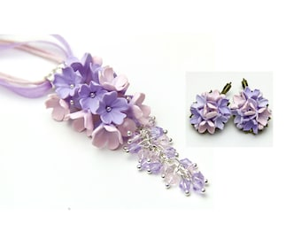 Lilac flower necklace jewelry Pink necklace lavender wedding Flower jewelry Flower pendant Gift-for-Wife Lavender earrings Gift-for-her