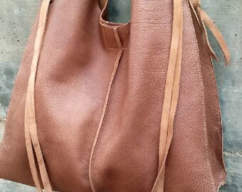 RUSTIC LEATHER BAG- Boho style- Distressed leather Bag- Handmade- Hobo leather Bag- Messenger Bag- Shoulder leather Bag