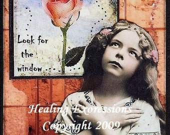 THE WINDOW altered art therapy recovery hope collage ATc ACEo PRINT