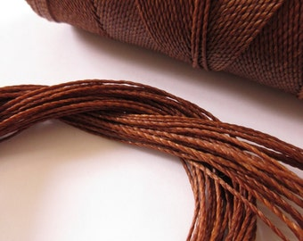Chocolate Brown Waxed Polyester Cord 25ft pack  = 8.33 yards = 7,6 meters Linhasita Thread Brand #788
