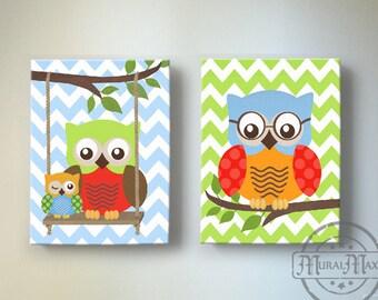 Baby Boy Owl Decor, Owl Nursery Decor - Owl Decor For Boy Room - OWL canvas art, Owl Decor  nursery art , Nursery Wall Art