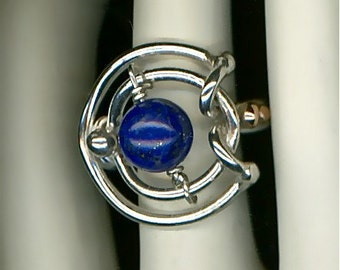 Lapis Blue Silver Wire Ring Gold Beaded Ring Sterling Silver Gold Lapis Lazuli Wire Jewelry