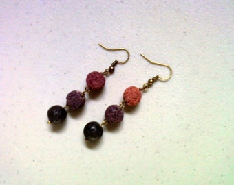 Dark Mauve, Plum and Black Lava Bead Earrings (1440)