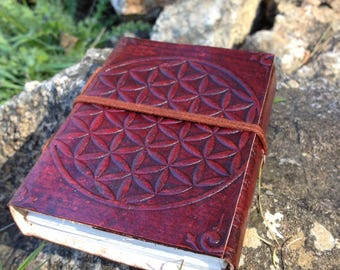 Leather Medieval Journal - Flower of Life Leather Notebook -  Handmade Embossed Leather Travel Book - Rustic Blank Book